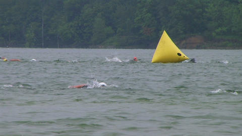 Swimmers Racing In Triathlon 04 Stock Video Footage