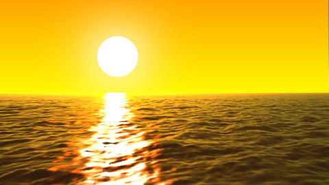 Loopable FullHd 3d sea with great sunset and waves Animation
