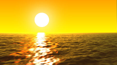 Loopable FullHd 3d sea with great sunset and waves Stock Video Footage