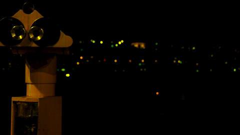 Touristic Binoculars at night Stock Video Footage