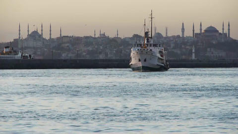 Ship docking at Hagia Sophia Stock Video Footage