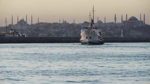 Ship docking at Hagia Sophia Footage