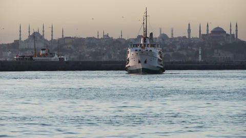 Ship docking at Hagia Sophia Stock Video Footage