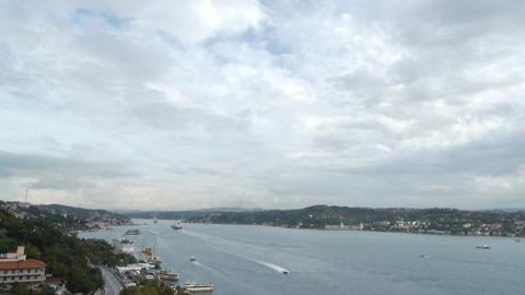 Istanbul over the Bosphorus brigde Stock Video Footage