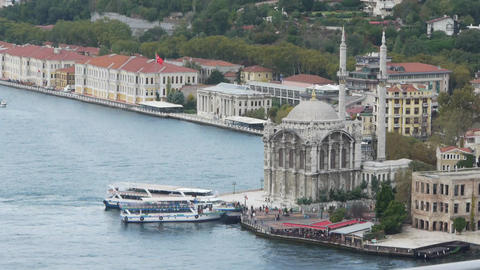 Ortakoy Mosque and istanbul scene Stock Video Footage