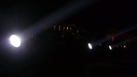 Spotlights over bridge Stock Video Footage