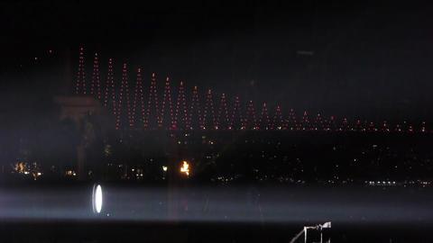 Spotlights over bridge Footage
