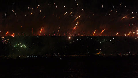Firework over bridge Stock Video Footage