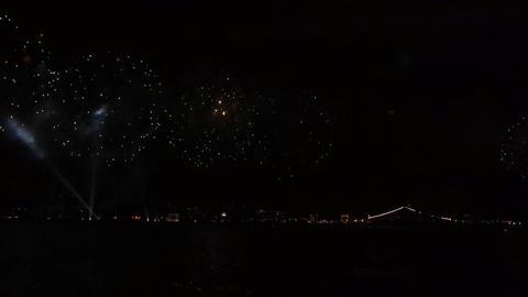 Firework over sea Stock Video Footage