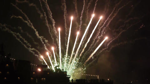 Fireworks behind the ship Stock Video Footage