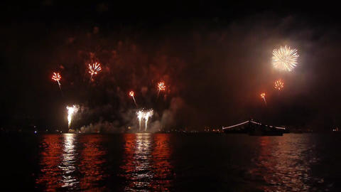Fireworks over sea Footage