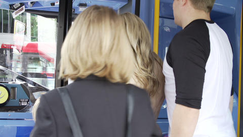 Passenger Avoiding Paying Whilst Boarding Bus stock footage