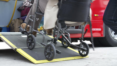 Close Up Of Disabled Person In Wheelchair Boarding Footage