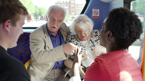 Senior Couple Being Harassed On Bus Journey Footage