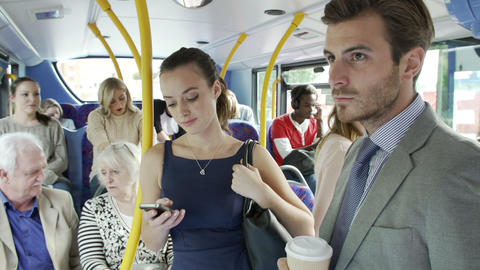 Passengers Standing On Busy Commuter Bus Footage
