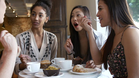 Group Of Female Friends Meeting In Café Restauran Footage