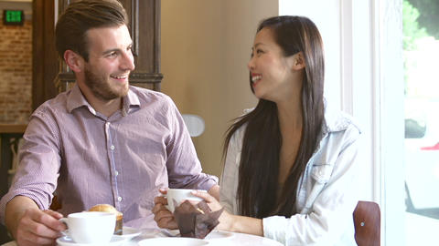 Couple Meeting In Café Restaurant Footage