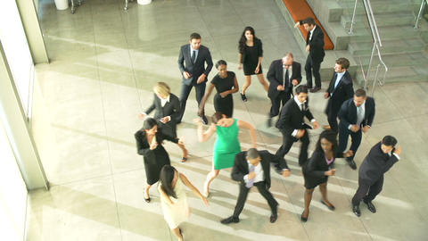 Businessmen And Businesswomen Dancing In Office Lo stock footage