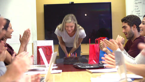 Workers Celebrating Colleague's Birthday In Office Footage