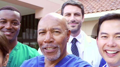 Outdoor Portrait Of Medical Team Outside Hospital Footage