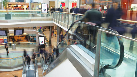 Time Lapse Sequence Of Shoppers On Escalators In M Footage