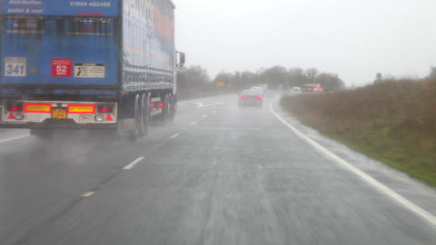Time Lapse Sequence Of Motorway Journey In Rain Footage
