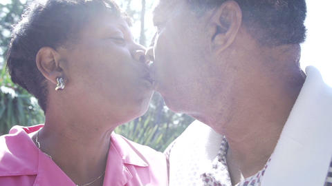 Slow Motion Sequence Of Senior Couple Embracing Ou Footage