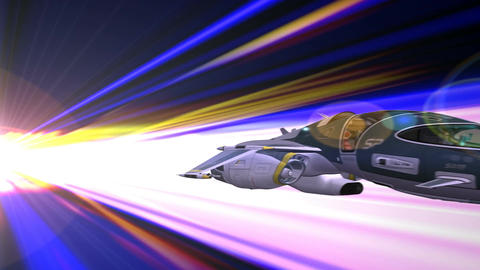 Space Ship In Hyperspace stock footage