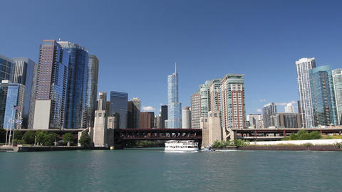 Approaching Chicago From Water stock footage