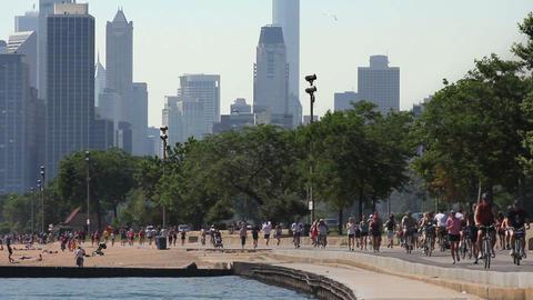 Path and City Skyline Footage