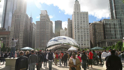Crowd at Millennium Park Footage