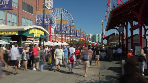 Crowds at Navy Pier Time Lapse Footage