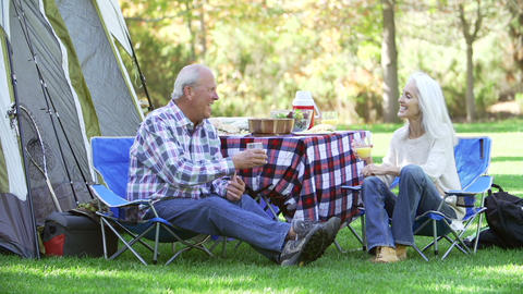 Senior Couple Enjoying Camping Holiday In Countrys Footage