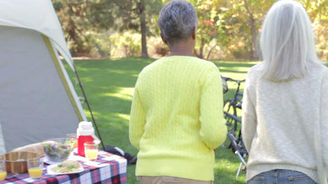 Two Mature Women On Camping Holiday Set Off On Cyc Footage