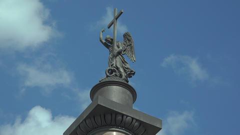 The angel on the Alexander column in St. Petersbur Footage