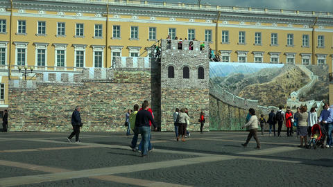 The model of the great wall on Palace square. Sain Footage
