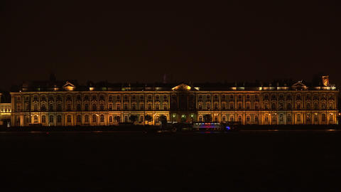 The Hermitage in St. Petersburg. White night. 4K Footage