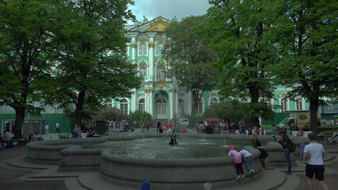 The fountain in the Winter Palace in St. Petersbur Footage