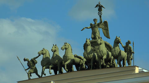 The chariot over the arch of the General staff. Th Footage