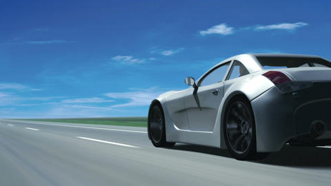 Silver Sports Car (Looping motion background) Animation