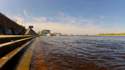 On The Embankment Of The River stock footage