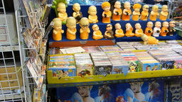 Miniature monk figurines sold at Warorot Market, C Footage