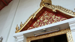 Decorative door and roof o Wat Phra Sing, a Buddhi Footage
