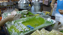Selling and buying Kanom Sago and Sago pork, Chian Footage