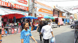 A street at Kad Luang market, the biggest in Chian Footage