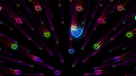 Simple background Heart S 2 neon 4k Animation