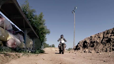 Offroad motorbike crossing Footage