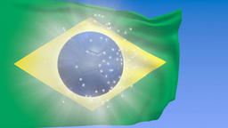 Brazil Flag With Soccer Ball stock footage
