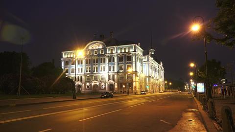 Nakhimov naval school in St. Petersburg. Night. 4K Footage