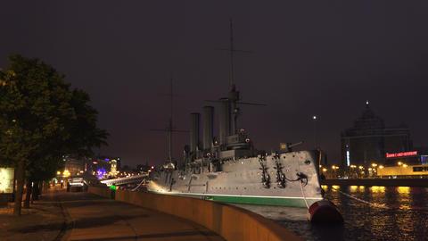 The Aurora cruiser in Saint-Petersburg. Night. 4K Footage